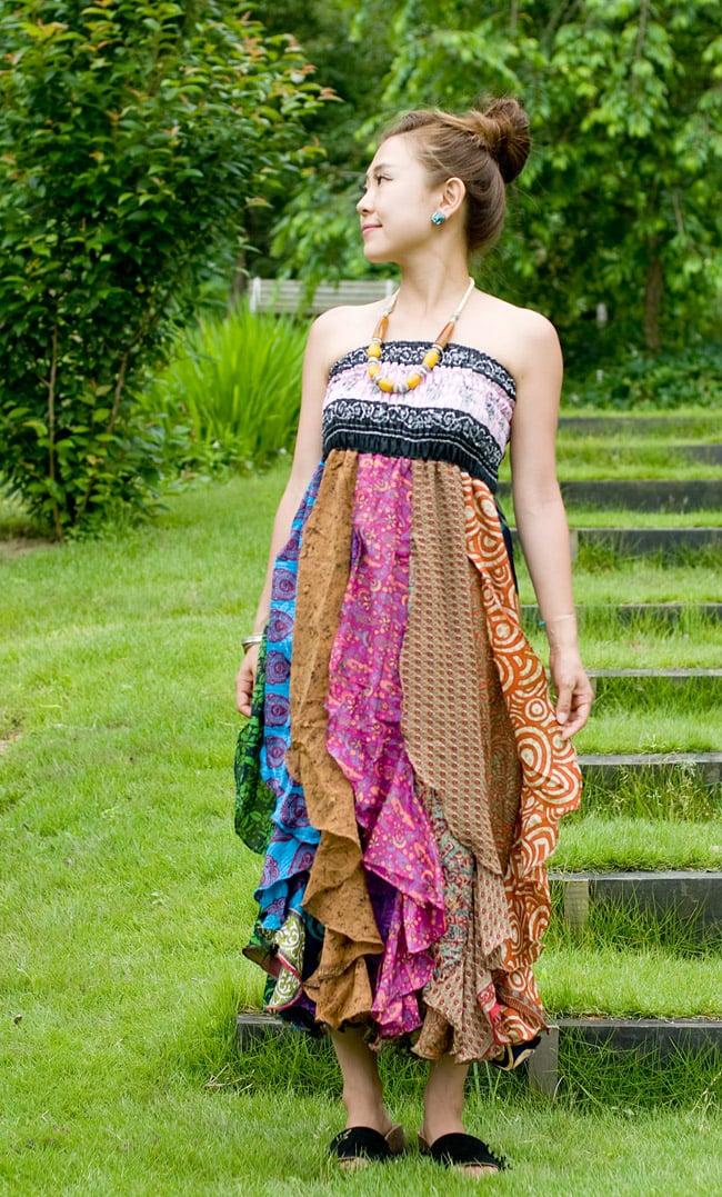 オールドサリーのフリルスカート 3 - 身長150?の着用例です。ボリュームのあるシルエットが可愛いです。
