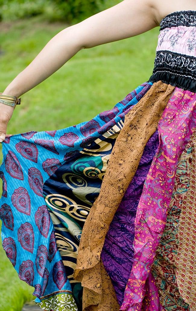オールドサリーのフリルスカート 8 - ひらひらしたデザインがフェミニンな雰囲気を醸しだしてくれます。