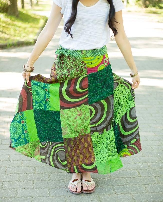 インドコットンのカラフル・パッチワーク巻きスカート 12 - 選択D:緑系