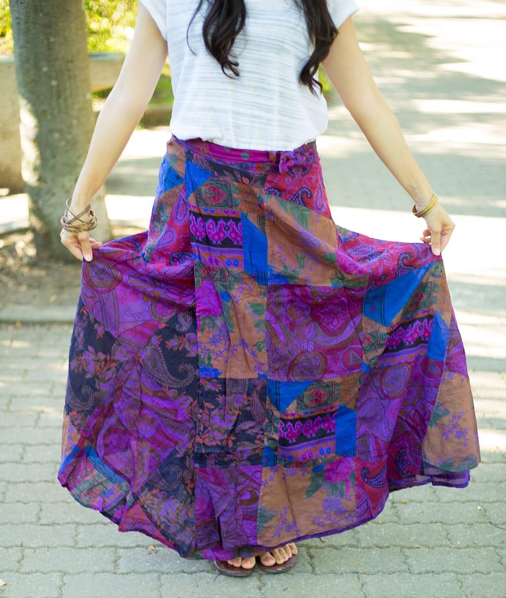インドコットンのカラフル・パッチワーク巻きスカート 13 - 選択A:紫系