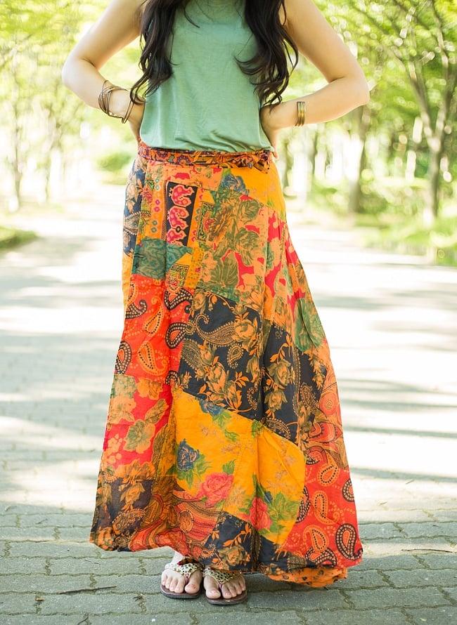インドコットンのカラフル・パッチワーク巻きスカート 6 - 選択C:オレンジ系です。