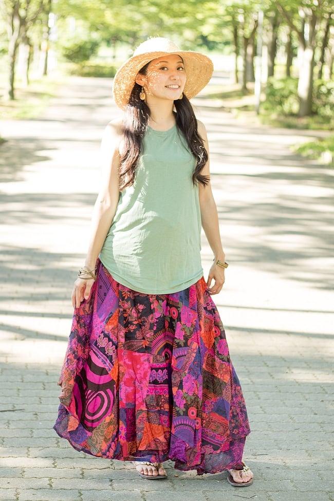 インドコットンのカラフル・パッチワーク巻きスカートの写真