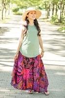 エスニック衣料のセール品:[日替わりセール品]インドコットンのカラフル・パッチワーク巻きスカート
