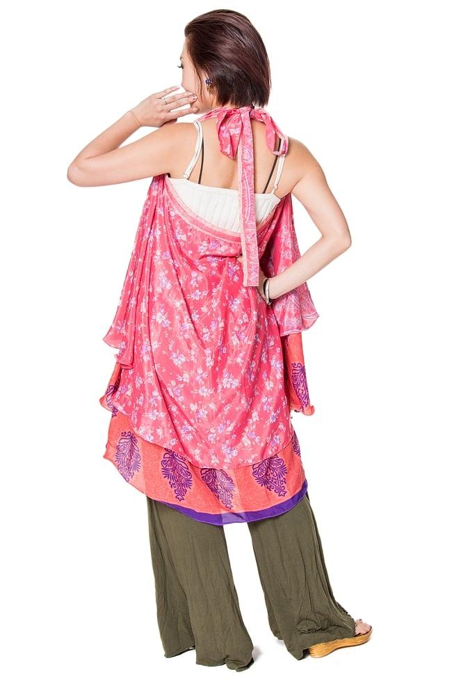 【1点もの】20通りの着方ができる魔法のスカート ピンク系 D 2 - 背中側からみてみました。