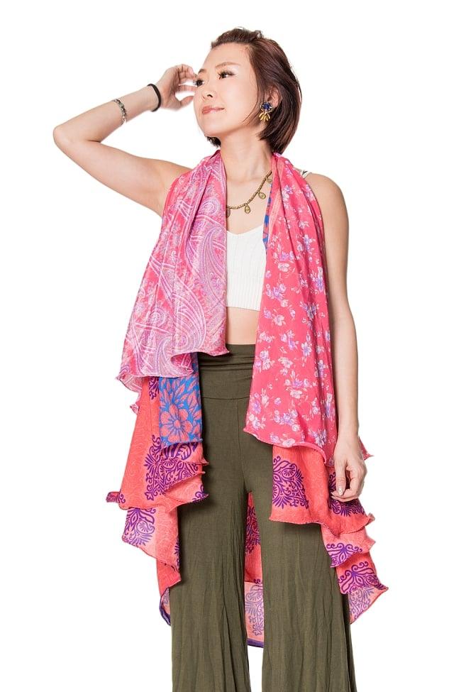 【1点もの】20通りの着方ができる魔法のスカート ピンク系 Dの写真