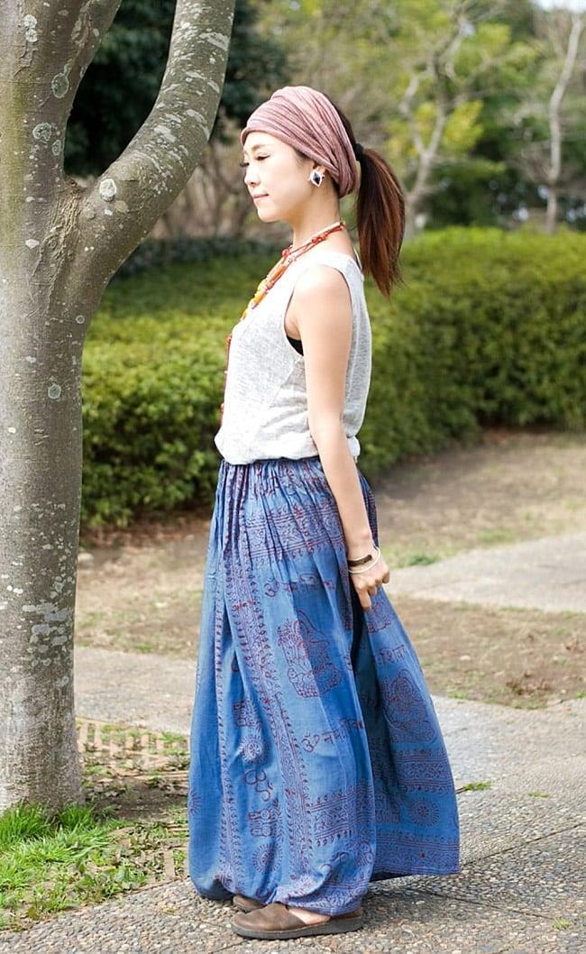 ラムナミフレアースカート(ロング丈) 薄水色 4 - ウエスト部分。ゴムと紐で調節できます。