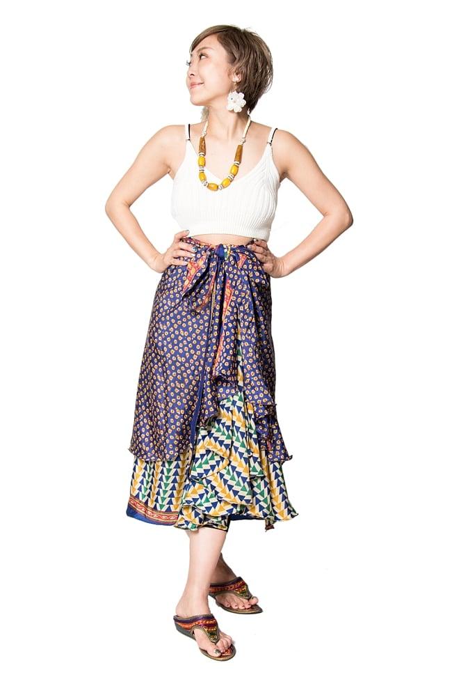 【1点もの】20通りの着方ができる魔法のスカート 青系 2の写真