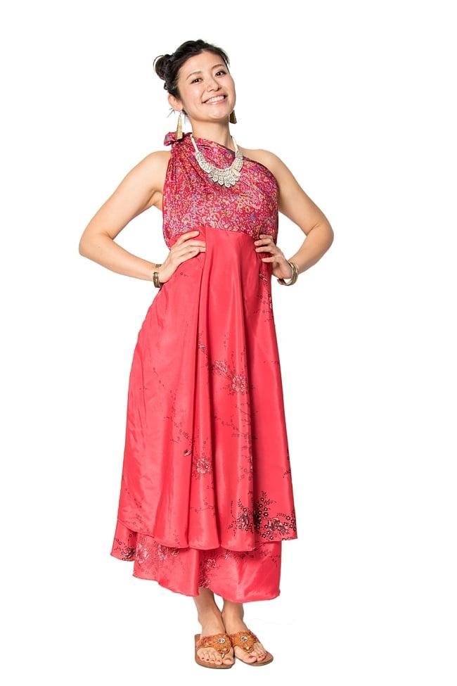 【1点もの】20通りの着方ができる魔法のスカート 赤系 2の写真