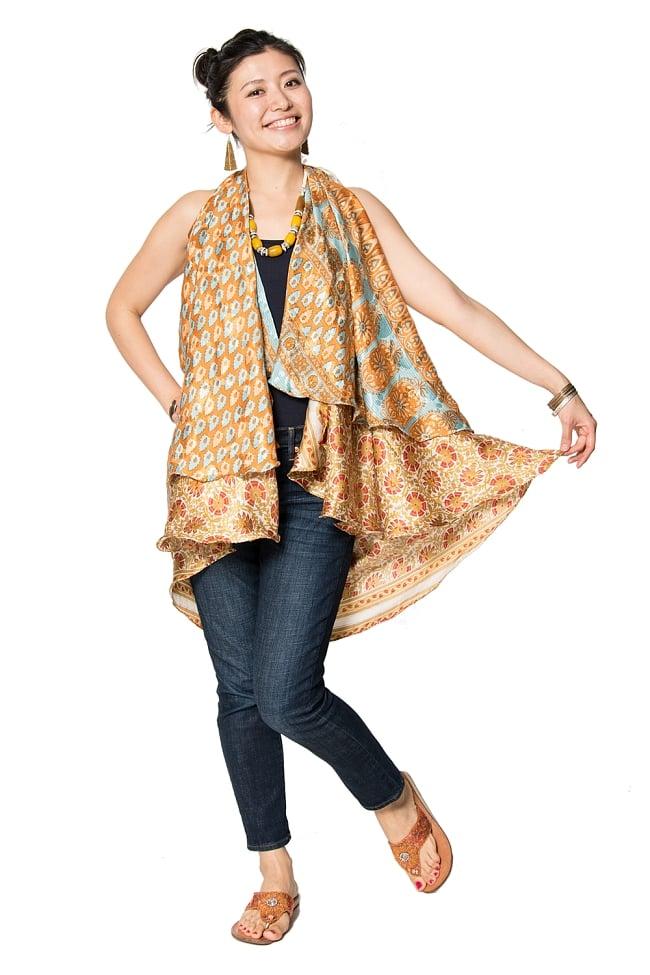 【1点もの】20通りの着方ができる魔法のスカート 黄・オレンジ系 4の写真