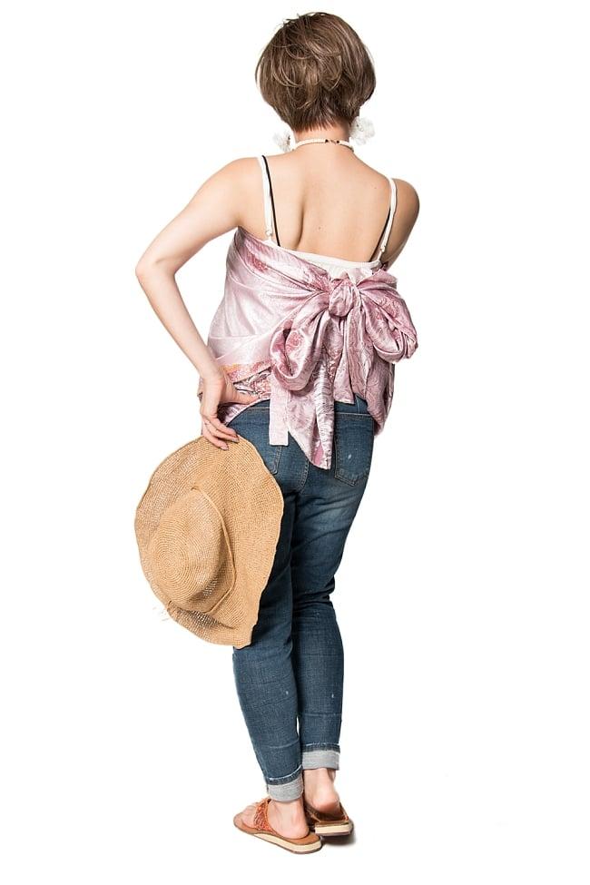 【1点もの】20通りの着方ができる魔法のスカート ピンク系 3の写真3 - 柄の詳細をみてみました。