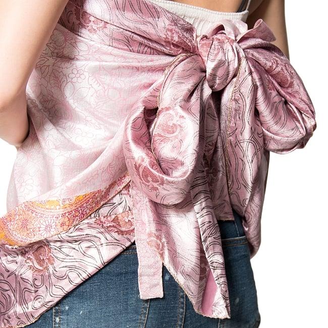 【1点もの】20通りの着方ができる魔法のスカート ピンク系 3の写真4 - 別の箇所をみてみました。