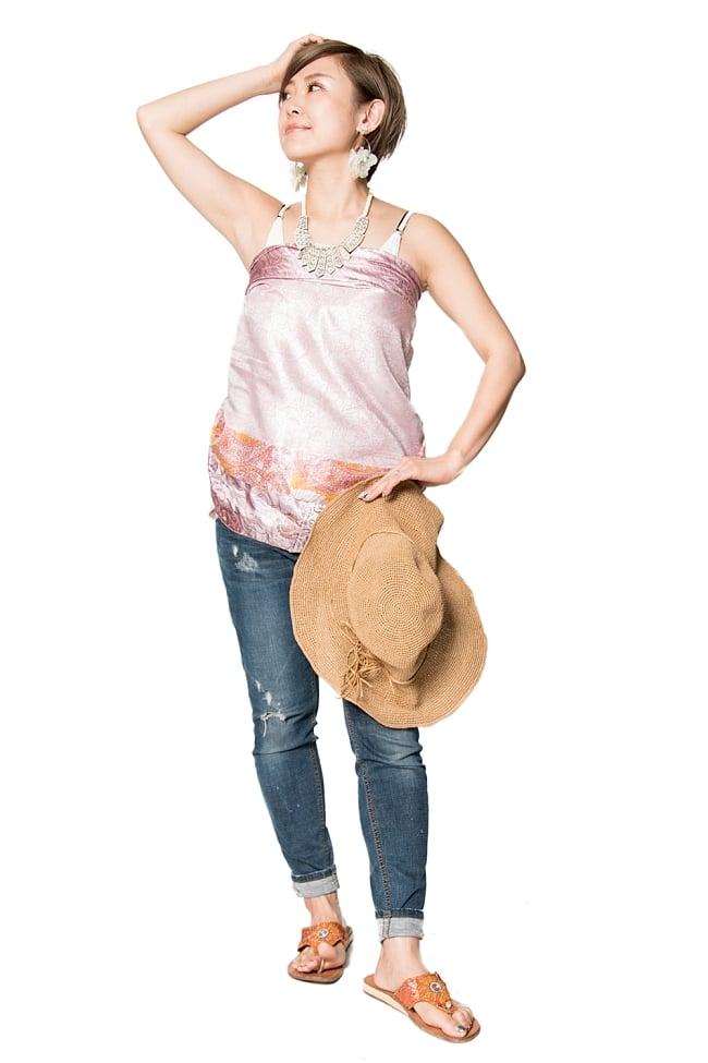 【1点もの】20通りの着方ができる魔法のスカート ピンク系 3の写真