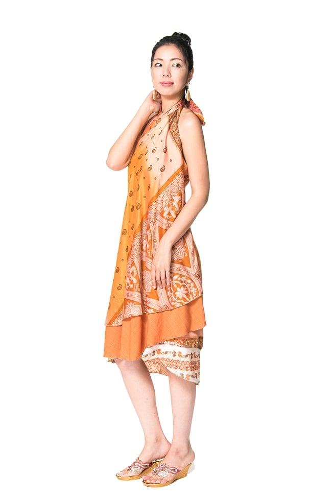 【1点もの】20通りの着方ができる魔法のスカート イエロー・オレンジ系  5 2 - 背中側からみてみました。