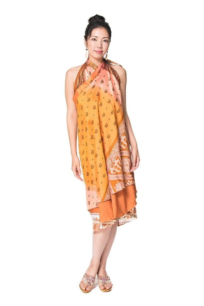 【1点もの】20通りの着方ができる魔法のスカート イエロー・オレンジ系  5の写真