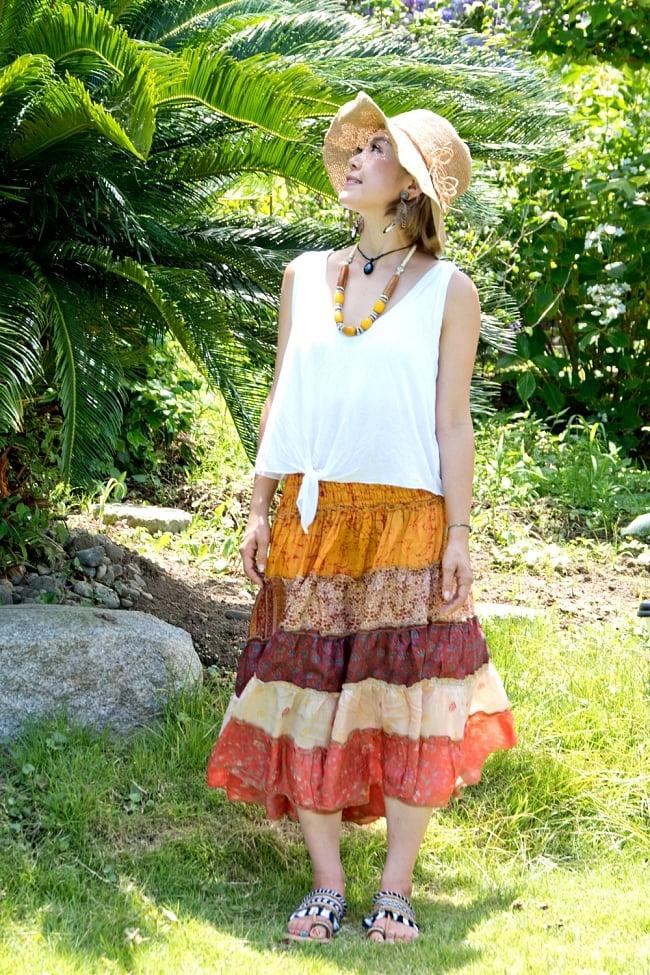 オールドサリーの2WAYスカート【ショート】 2 - 柔らかな素材で軽いので着やすいです。