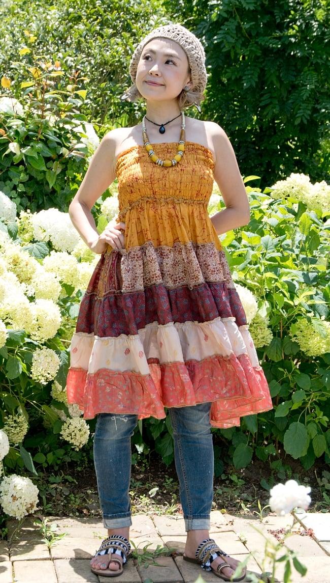 オールドサリーの2WAYスカート【ショート】 3 - 胸まであげてワンピースとして着てみました。