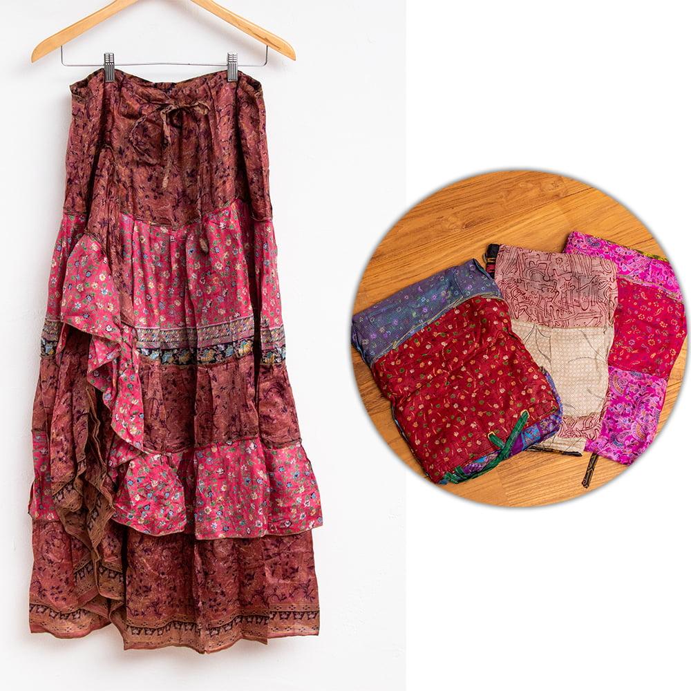 オールドサリーのティアードスカート 11 - 3:ピンク・赤系