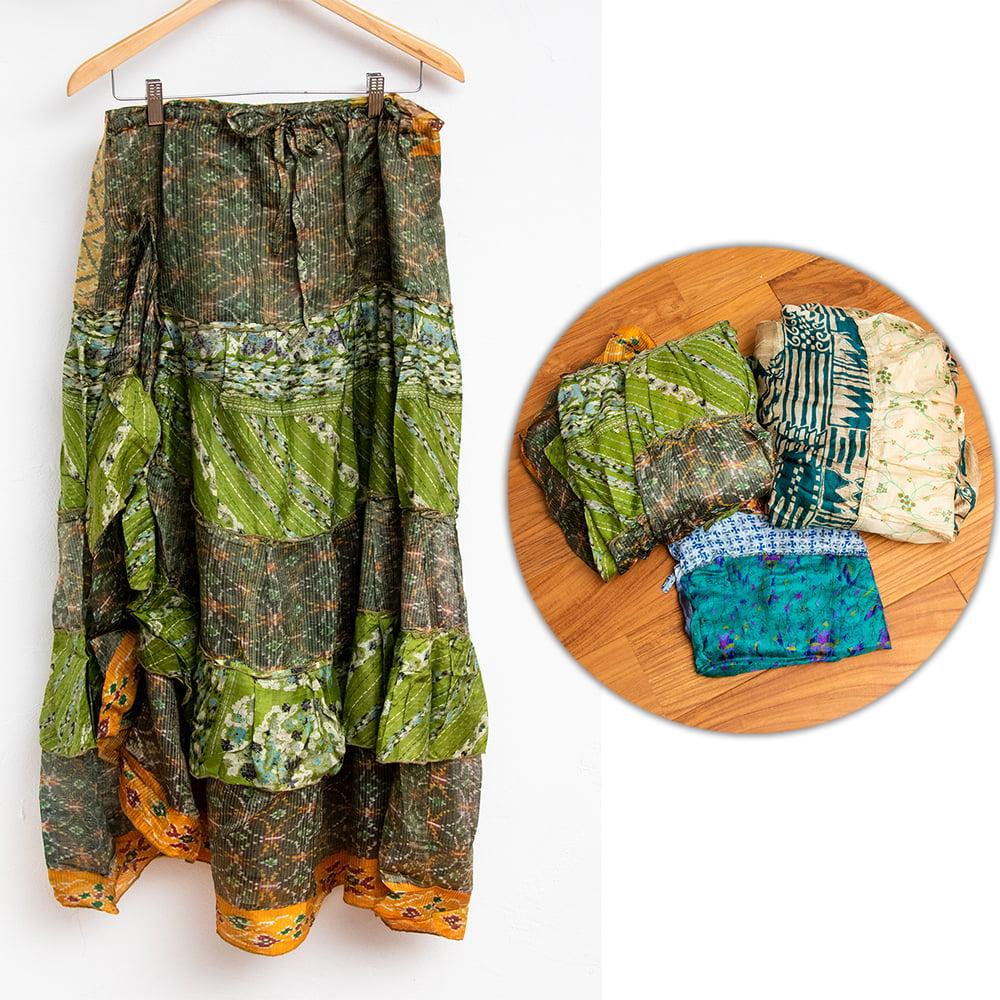 オールドサリーのティアードスカート 12 - 4:グリーン・ベージュ系