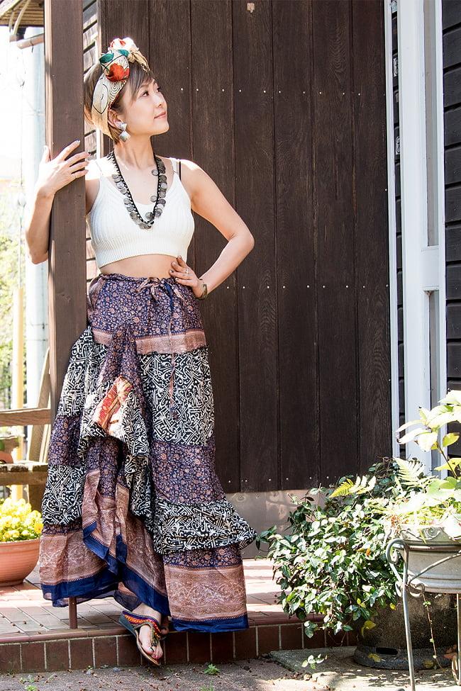 オールドサリーのティアードスカート 2 - 身長152cmのモデルさんの着用例になります。