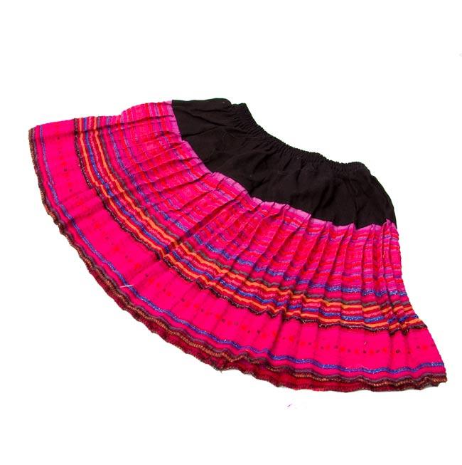 モン族の古布プリーツスカートミニの写真