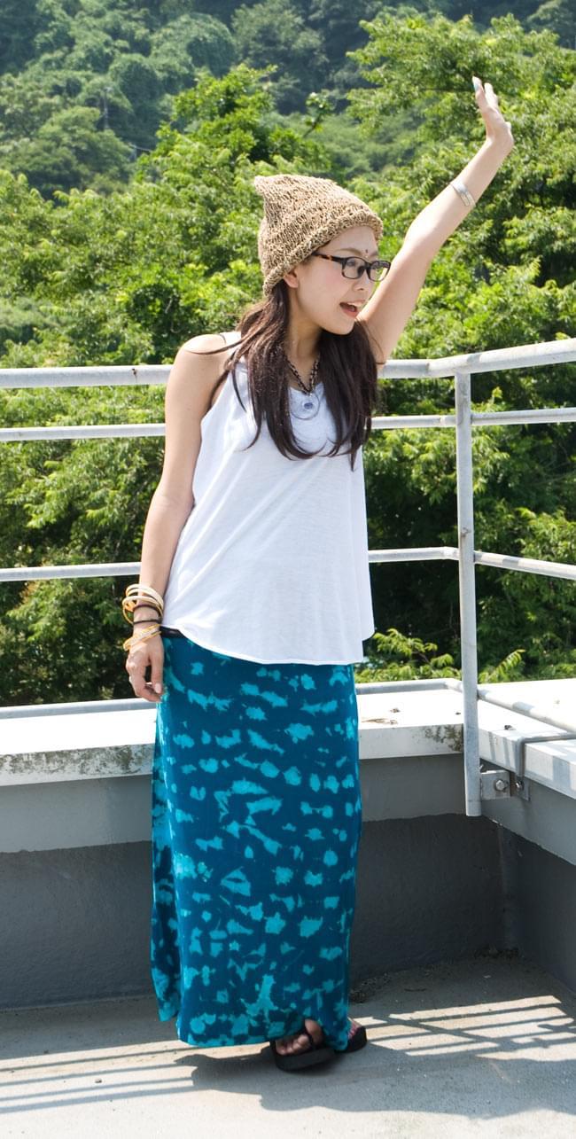 タイダイタイトロングスカート 【ブルー系】の写真