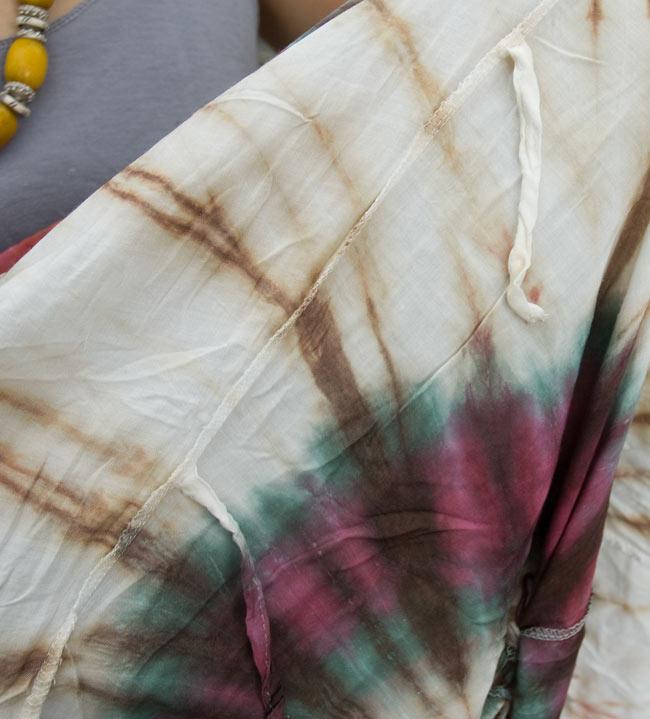 4通り楽しめる! タイダイロングスカート 【グリーン系】の写真3 - スカートの内側に紐が付いているので、紐を結べばバルーン型に大変身!