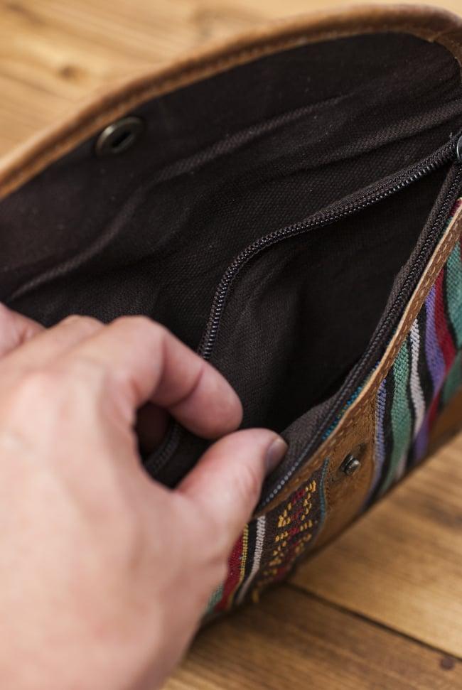 レザーとゲリコットンのウォレット - 水色系 5 - 内側はポケットが2つのシンプルな作りになっています。