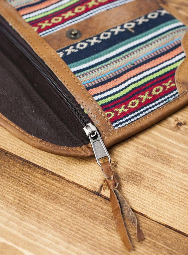 レザーとゲリコットンのウォレット - マルチカラー 6 - ジップ部分をアップにしてみました。革紐の飾りも可愛いです