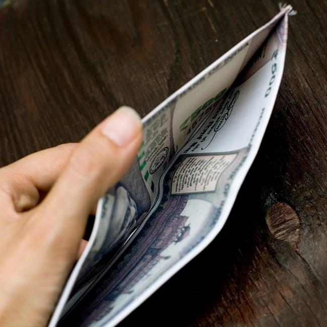 インドルピー札 そのまんま財布【500ルピー】 5 - お札入れは大きく開いて使いやすいです!