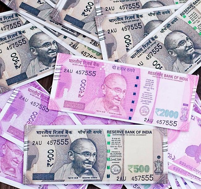 インドルピー札 そのまんま財布【2000ルピー】 10 - 沢山集めてマハラジャごっこも楽しそうです^^