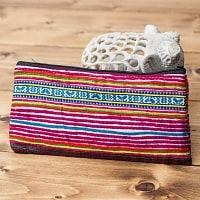 モン族の古布を使ったシンプル長財布 - ピンク系ボーダー
