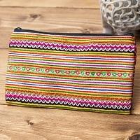 モン族の古布を使ったシンプル長財布 - オレンジ&ピンク系ボーダー