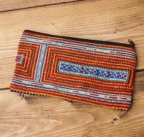 モン族の古布を使ったシンプル長財布 - オレンジ系スクエア
