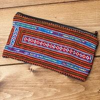 モン族の古布を使ったシンプル長財布 - 青&オレンジ系スクエア