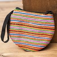 モン族の古布を使ったシンプル小銭入れ - オレンジ&ピンク系ボーダー