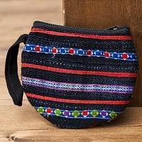 モン族の古布を使ったシンプル小銭入れ - ネイビー&暗色系