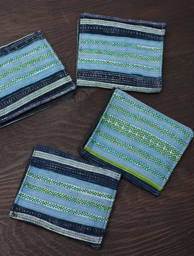 モン族の古布を使った二つ折り財布[水色] 8 - 手作りのため、柄は商品ごとに異なります。アソートでのお届けとなります。