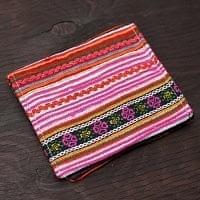 モン族の古布を使った二つ折り財布[ピンク系]