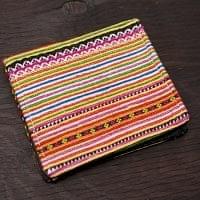 モン族の古布を使った二つ折り財布[オレンジ系]