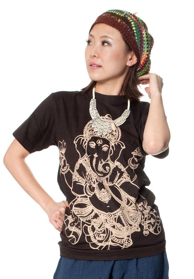 音楽と芸術の神様 サラスヴァティー Tシャツ  9 - 身長150cmのスタッフがSサイズを着てみました。。