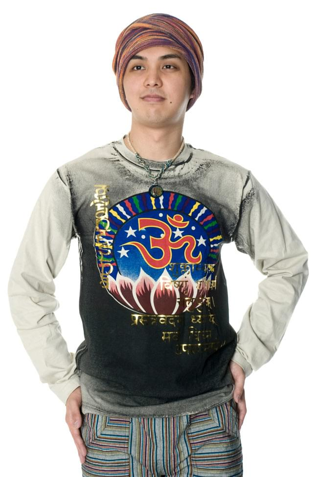 【長袖】ロータスとオーン Tシャツ 6 - 170cmのスタッフがMサイズを着てみました