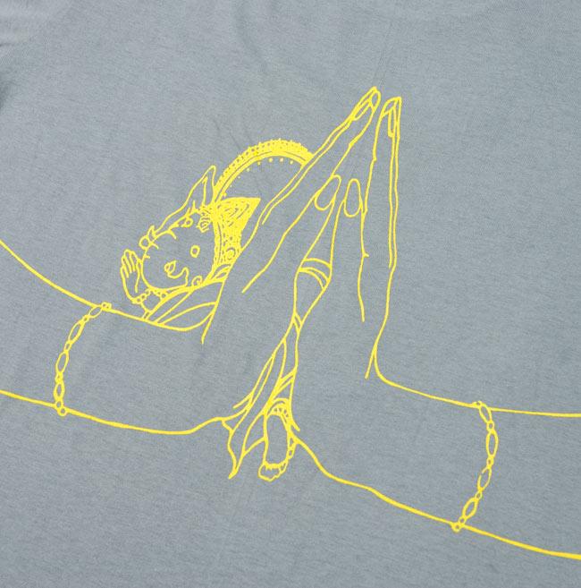 ナマステ・ガネーシャ Tシャツ 【グレー】 5 - 裏面のプリントをアップにしてみました。