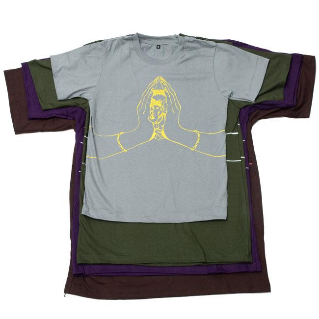 ナマステ・ガネーシャ Tシャツ 【グレー】 7 - S、M、L、XLで重ねてみました。詳細はサイズ表をご確認下さい。