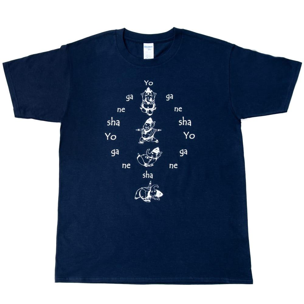 ヨガネーシャTシャツ ヨガをするガネーシャのオリジナルTシャツ 新色入荷 2 - 裏面にもガネーシャがいます