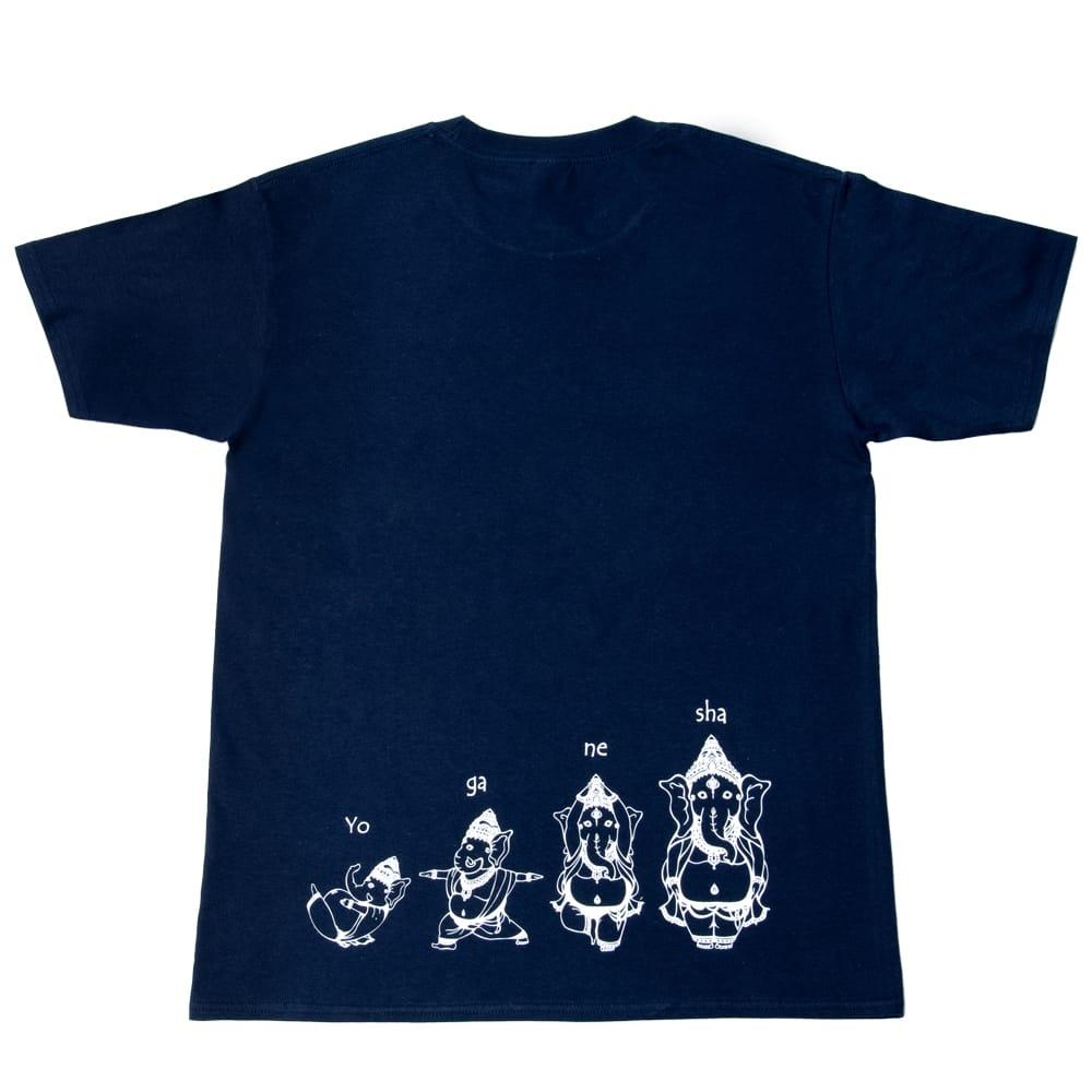 ヨガネーシャTシャツ ヨガをするガネーシャのオリジナルTシャツ 新色入荷 3 - 全面の拡大写真です