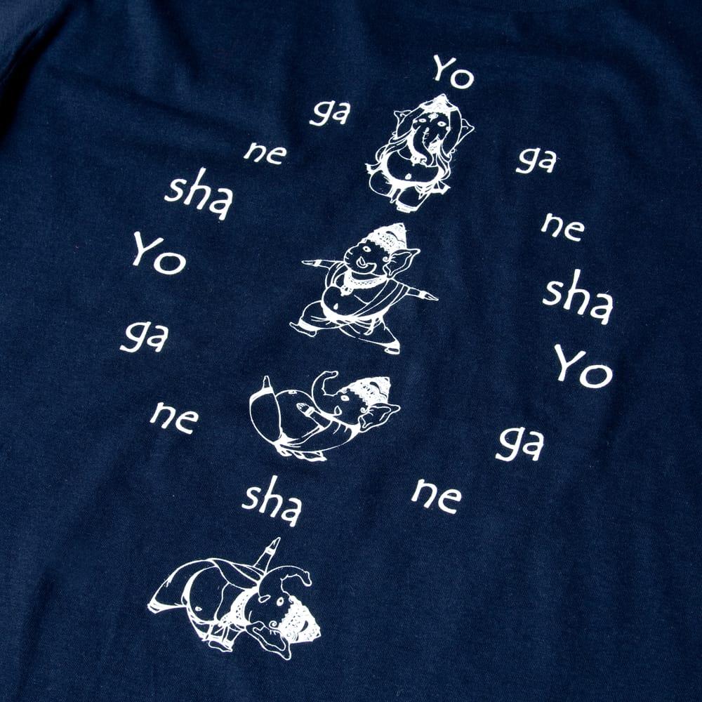 ヨガネーシャTシャツ ヨガをするガネーシャのオリジナルTシャツ 新色入荷 4 - 裏面の拡大写真です
