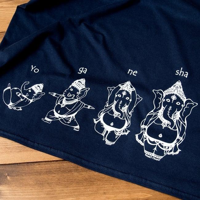 ヨガネーシャTシャツ ヨガをするガネーシャのオリジナルTシャツ 新色入荷 5 - 首元もしっかり
