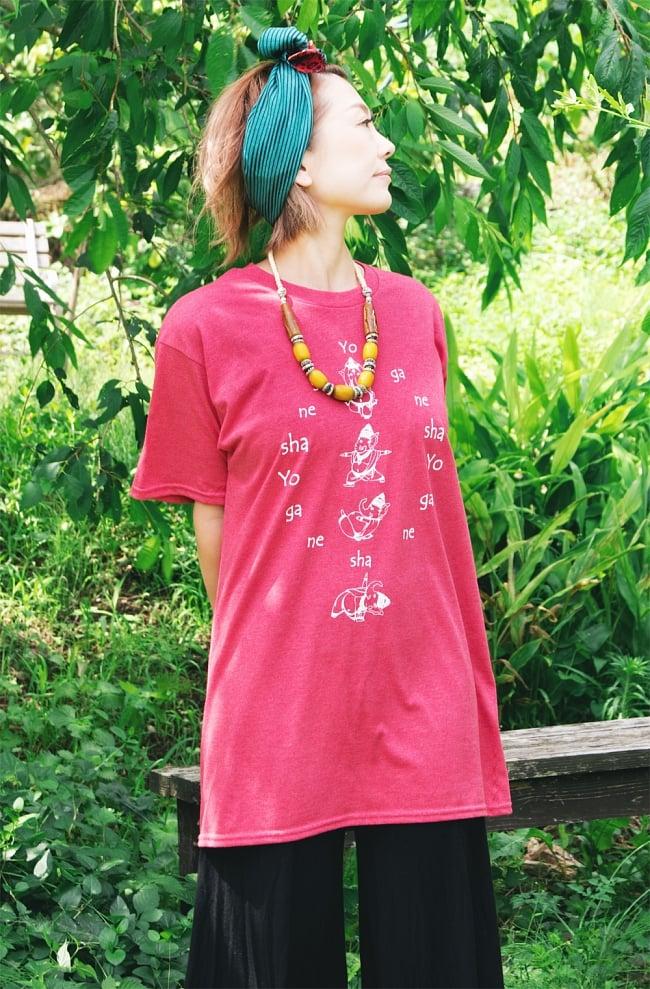 ヨガネーシャTシャツ ヨガをするガネーシャのオリジナルTシャツ 新色入荷 7 - 裾の拡大写真です