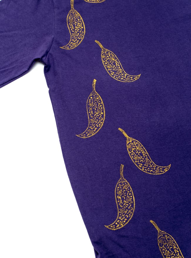 トウガラシ ウッドブロックプリントTシャツ 6 - こちらにもしっかりとしたプリントが施されています