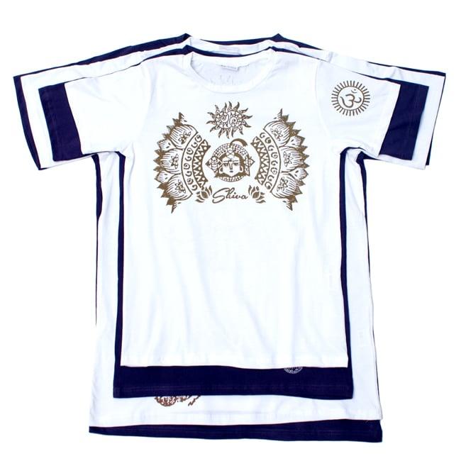 ガネーシャのひかり ウッドブロックプリントTシャツの写真12 - 身長170cmのスタッフが【Lサイズ-白色】を着てみました。